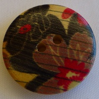 Wooden Oriental Button