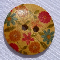Wooden Button - Small Flower Mixed Colours