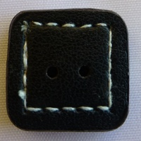 Leather Sewn Square Button (Black) 2 cm