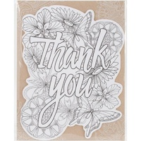 Note Cards-Die Cut Colouring Card-Thank You