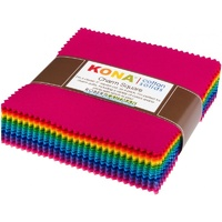 Kona Cotton Solids Bright Colourstory Charm Squares -5in x 101pc