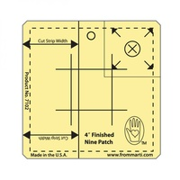 Nine Patch Ruler-Amber Acrylic Etched - 4 in