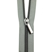 Sallie Tomato - Zippers By The Yard Grey Tape Gunmetal Teeth #5