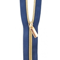 Sallie Tomato - Zippers By The Yard Navy Tape Light Gold Teeth #5