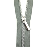 Sallie Tomato - Zippers By The Yard Grey Tape Nickel Teeth #5