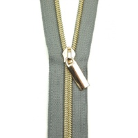 Sallie Tomato - Zippers By The Yard Grey Tape Light Gold Teeth #5