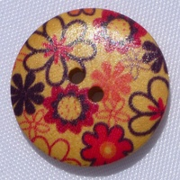 Wooden Button - Black Red Flowers